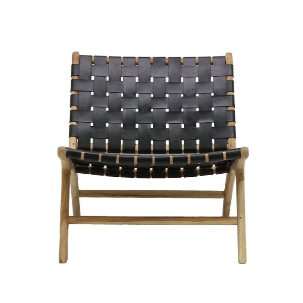 Hayes Leather Low Chair - Black