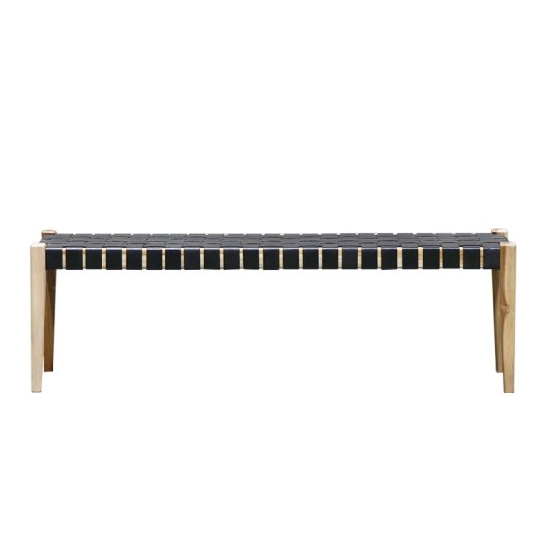 Hayes Leather Bench 150cm - Black