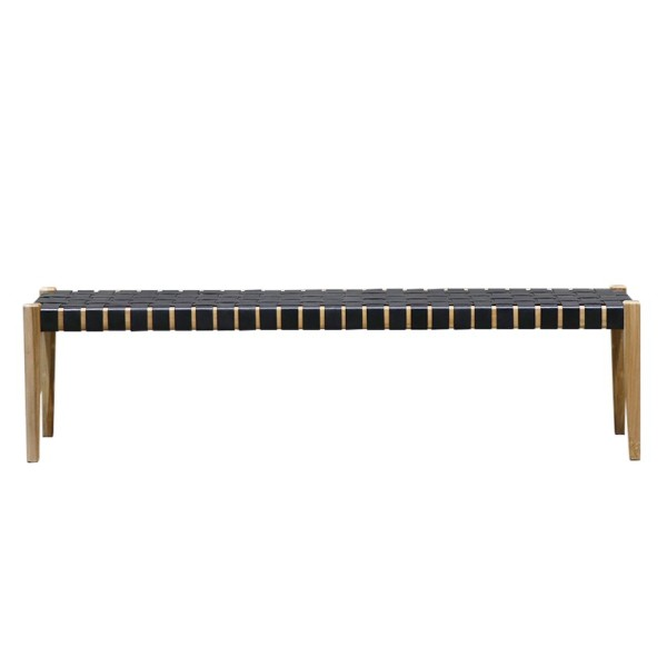 Hayes Leather Bench 180cm - Black