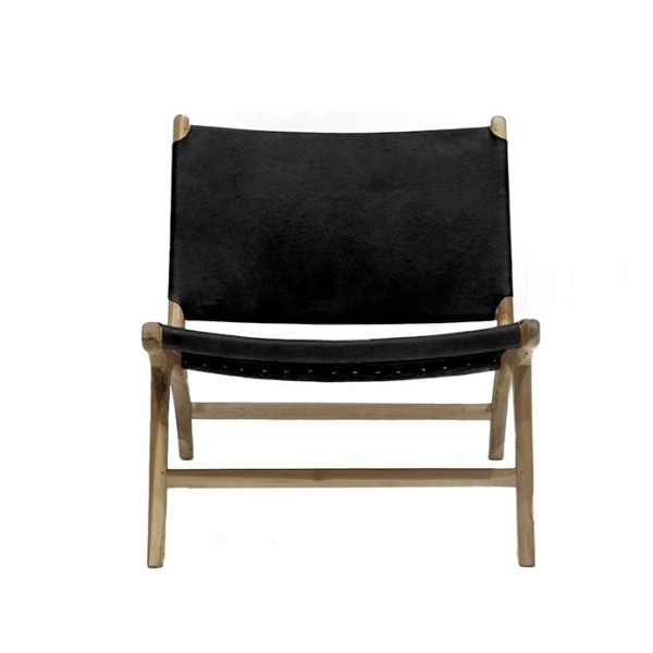 Hyde Leather Low Chair - Black
