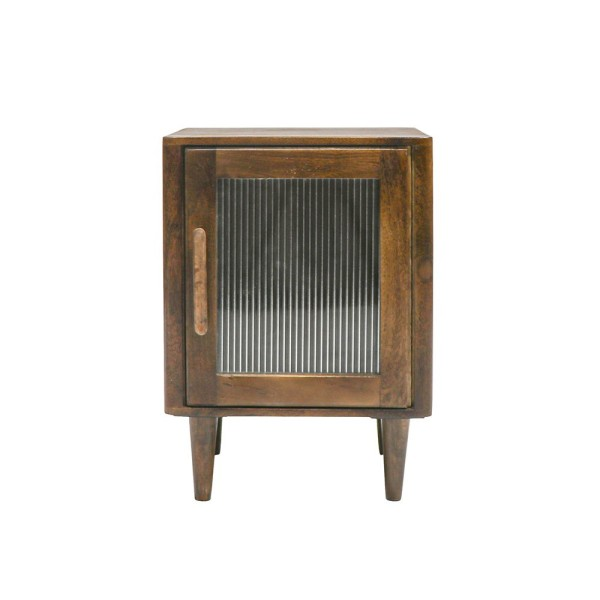 Tate Reeded Glass Bedside - Natural