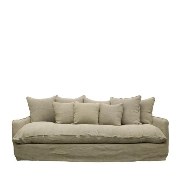 Lotus Slipcover Sofa 3 seater - Khaki Linen