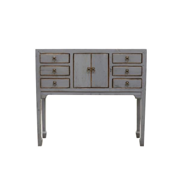 Oriental Painted Console - Petite, Vintage Blue/Grey