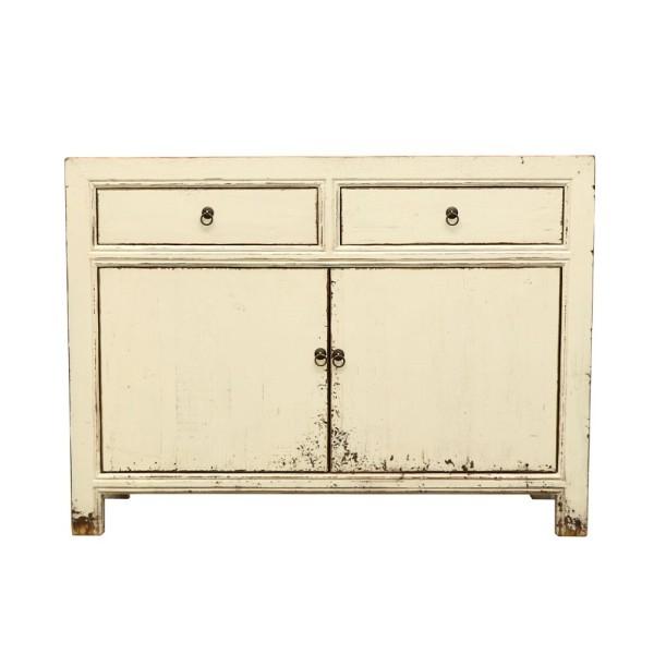 Oriental Painted 2 Door Sideboard - Vintage Cream