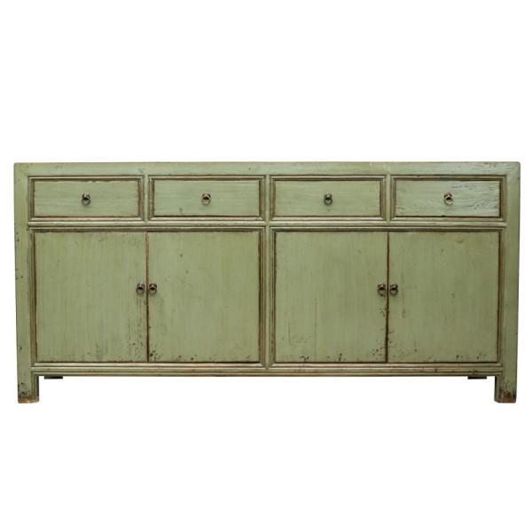 Oriental Painted 4 Door Sideboard - Vintage Green