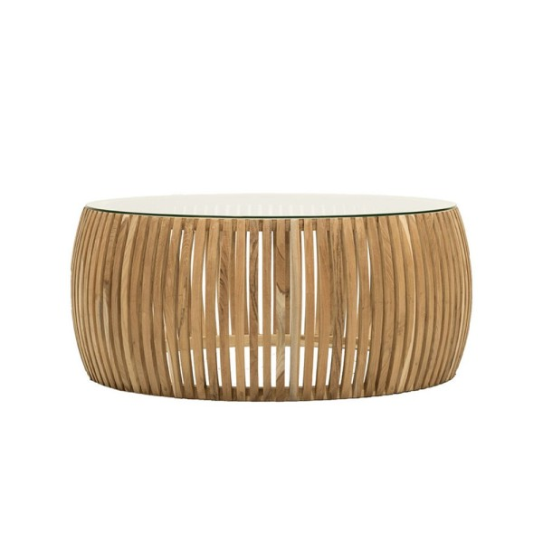 Crusoe Round Slatted Coffee Table - Natural