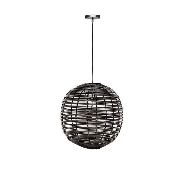 Black Rattan Globe Pendant - Small